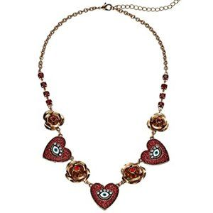 Betsey Johnson Red & Gold Heart with Eye Necklace